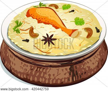 Vector Illustration Of Chicken Biryan , Which Is Arranged In A Brass Vessel,png Image