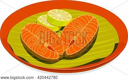 Vector Illustration Of Seer Fish Fry Garnished With  Lemon Slices Which Is Placed  On Banana Leaf Li