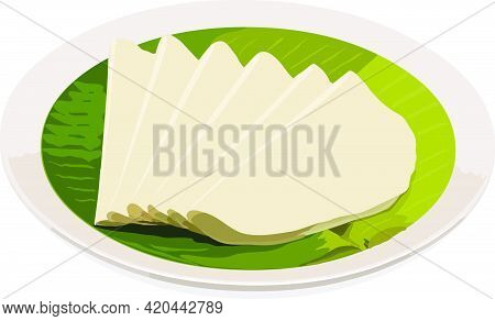 Vector Illustration Of Nice Pathiri, South Indian Malabar Special Food Made Using Rice Flour Which I