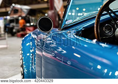 Riga, Latvia, September 25, 2020: Vintage Luxury Cupercar Ford Shelby Ac Cobra Detail Close-up, Side
