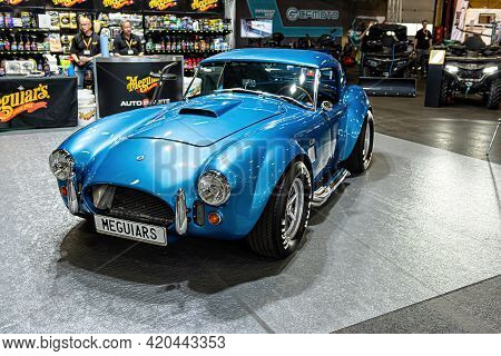 Riga, Latvia, September 25, 2020: Vintage Luxury Cupercar Ford Shelby Ac Cobra At A Motor Show, Fron