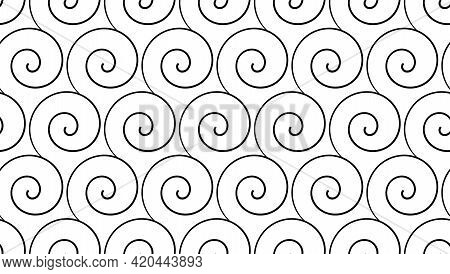 Curl Seamless Pattern. Simple Vector Curles On White Background. Vector Illustration