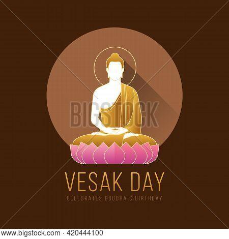 Vesak Day Banner With Modern The Lord Buddha Meditated On Lotus Sign In Brown Circle And Dark Brown