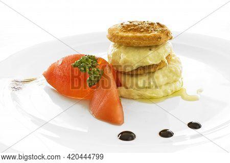 Codfish Gastronomic Dish On A White Background