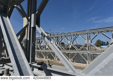 Iron Bridge In Truss Construction For Traffic And Transport Purposes