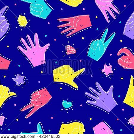 Seamless Pattern With Diverse Hands. Illustration In Doodle Style. Designation Of Numbers With Hands