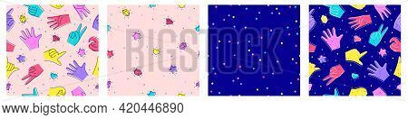 Set Of Seamless Patterns With Stars, Hearts, Crystals And Gems, Hands. Illustration In Doodle Style.