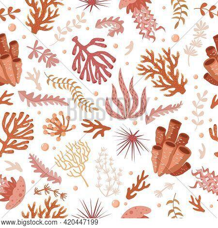 Seamless Pattern With Marine Fauna - Corals, Jellyfish, Sea Anemones, Seaweed, Sea Urchin, Bubbles,