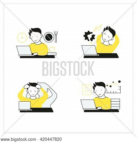 Workaholic Flat Icons Set. Workaholism Prevention, Consequences. Depersonalization, Counterproductiv