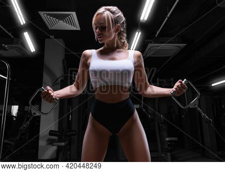 Attractive Busty Girl Working Out In A Crossover. Fitness And Bodybuilding Concept.