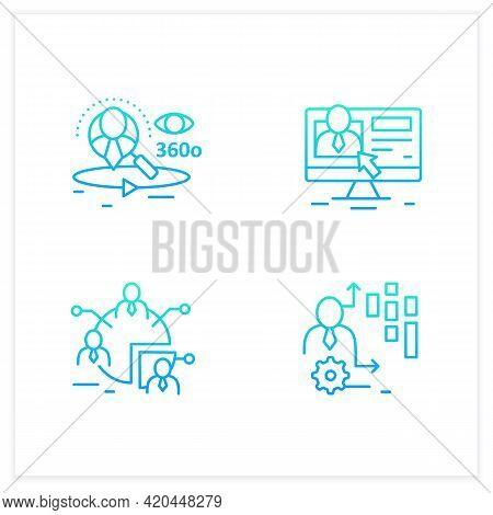 Customer Data Platform Gradient Icons Set.audience Segments, Client Database, Behavioral Date. Custo