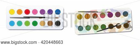 Watercolor Paint Boxes - Unused, Clean, Neat, New - Used, Spotty, Blotchy, Soiled, Dirty. Before Aft