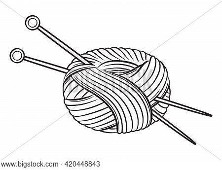 Skein Of Thread Or Yarn With Knitting Needles Icon. Handmade Knit. Ball Wool Or Soft Cotton Fiber. N