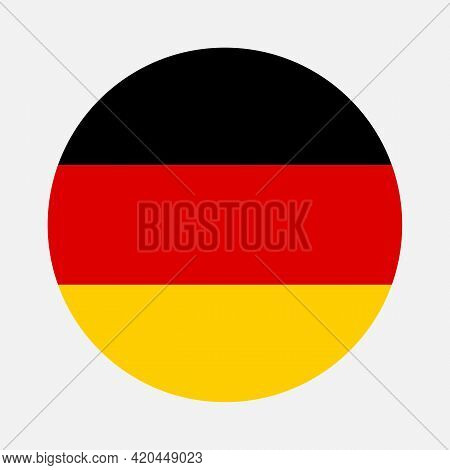 Round Flag Of Germany Country. Germany Flag With Button Or Badge