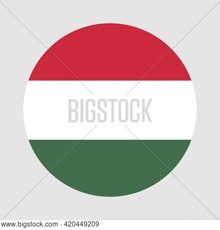 Round Flag Of Hungary Country. Hungary Flag With Button Or Badge