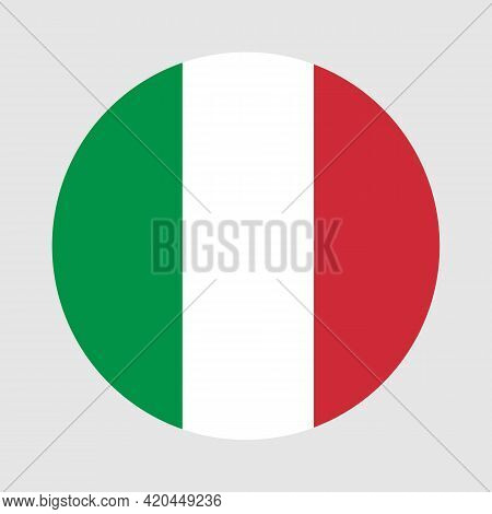 Round Flag Of Italy Country. Italy Flag With Button Or Badge