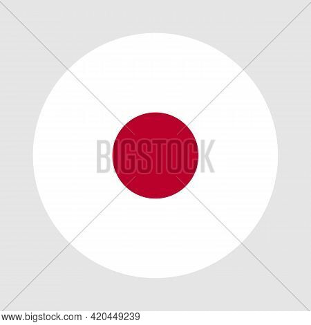 Round Flag Of Japan Country. Japan Flag With Button Or Badge