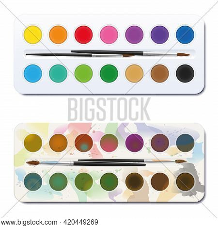 New And Used Watercolor Paint Box - Unused, Clean, Neat, New - Used, Spotty, Blotchy, Soiled, Dirty.