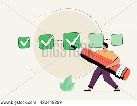 Project Tracking, Goal Tracker, Task Completion Or Checklist To Remind Project Progress Concept, Bus