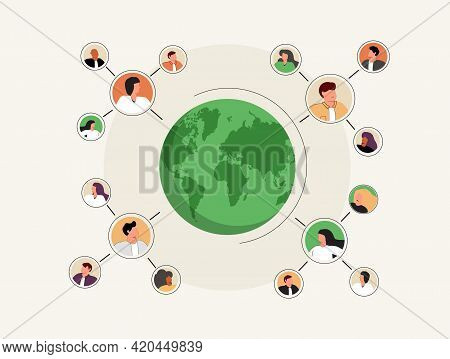Connected People As Social Community Networking Worldwide Tiny Person Concept. Linking Business Cont