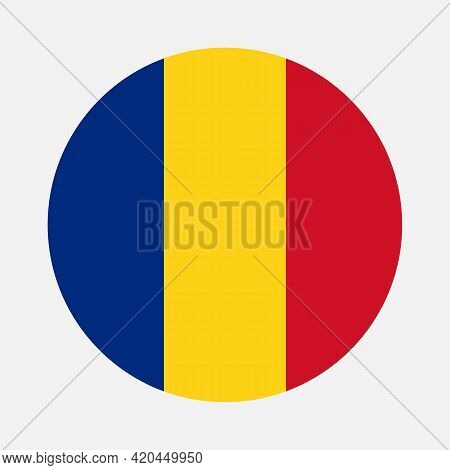 Round Flag Of Romania Country. Romania Flag With Button Or Badge