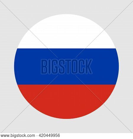 Round Flag Of Russia Country. Russia Flag With Button Or Badge