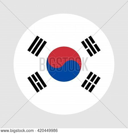 Round Flag Of South Korea Country. South Korea Flag With Button Or Badge.