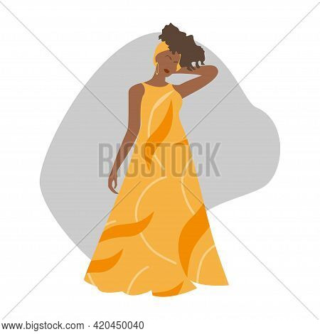 Portrait Of A Beautiful African American Woman In Yellow Long Dress. Minimalist Boho Style Portrait