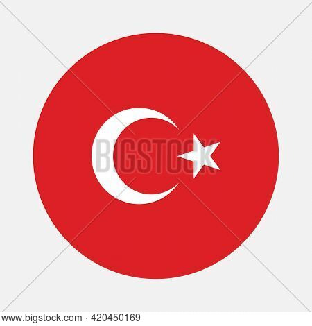 Round Flag Of Turkey Country. Turkey Flag With Button Or Badge