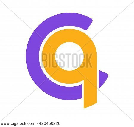 Stylized Lowercase Letters C And Q Are Linked By A Single Line For A Logo, Monogram, Or Monogram. Ve