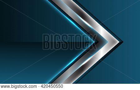 Abstract Silver Arrow Direction Overlap On Blue Metallic Glossy Blank Space Design Modern Luxury Fut