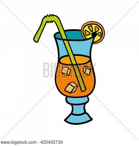 Hand Drawn Sketch Alcholic Cocktail Tropical Drink