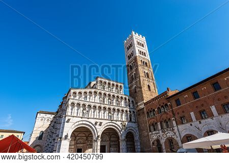 Main Facade Of The Medieval Cathedral Of San Martino (saint Martin), In Romanesque Gothic Style, Xi