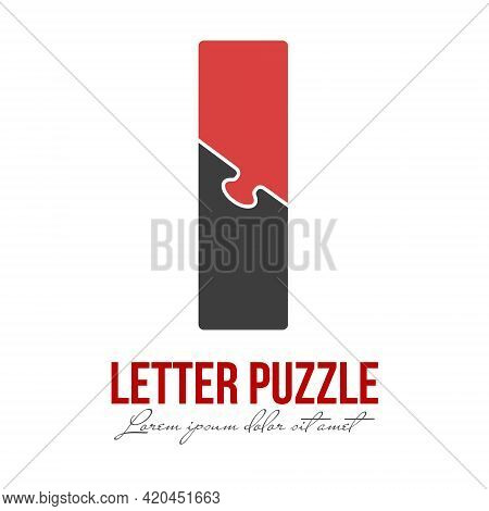 Letter I Is Made Up Of Puzzles. Vector Illustration For Logo, Brand Logo, Sticker Or Scrapbooking, F