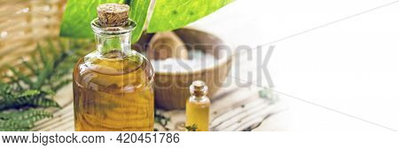 Concept Of Natural Organic Oil In Cosmetology. Moisturizing Skin Care And Aromatherapy. Gentle Body