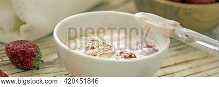 Homemade Strawberry Face Mask. Diy Natural Home Cosmetics Mask With Oatmeal, Cream, Strawberries. Au
