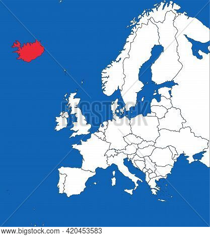 Iceland Map Highlighted On European Country. White On Blue Background. Business Concepts And Backgro