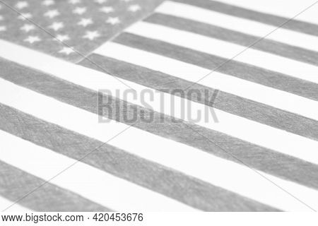 Usa Flag, Hand-drawn With A Pencil. Black And White Patriotic Background, Wallpaper Or Backdrop. Han