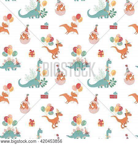 Festive Seamless Pattern With Dinosaurs. Velocepator, Brontosaurus, Stegosaurus, Pteranodon, And Bab