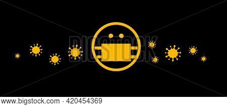 Human Head Icon In Mask With Viruses Flying In The Air, Cartoon Vector Illustration, Banner For Medi