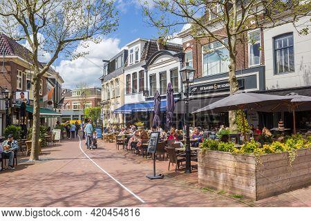 Assen, Netherlands - May 12, 2021: People Enjoying The Spring Weather At Restaurants In Assen, Nethe