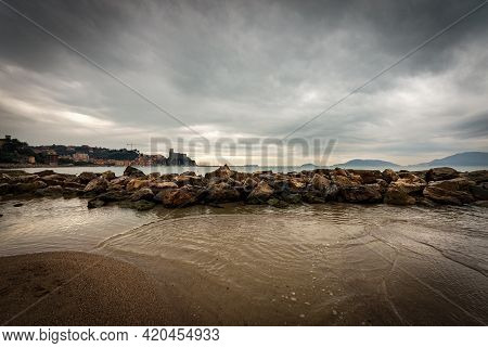 Lerici Town In Winter With Seascape And Cliffs. Gulf Of La Spezia Also Called Gulf Of Poets, Liguria
