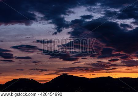 Beautiful Sunset In The Gulf Of La Spezia Over The Hill View From The Small Village Of Tellaro. Port
