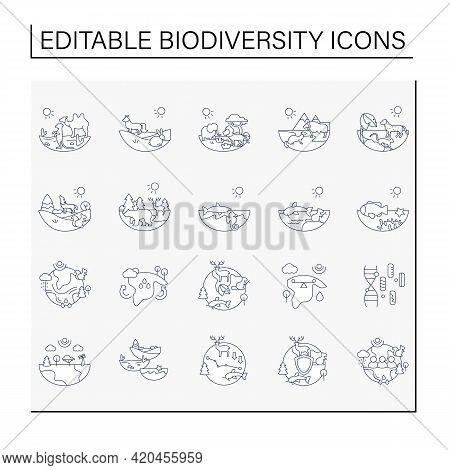 Biodiversity Line Icons Set. Consists Of Desert, Grassland, Tundra, Freshwater, Rainforest, Coral Re
