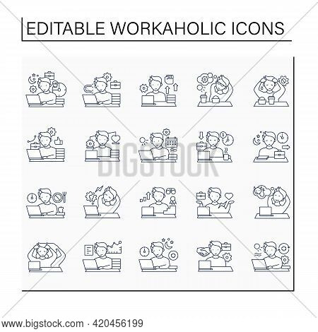 Workaholic Line Icons Set. Workaholism Prevention, Consequences.conduct Rules. Overworking Concept.i