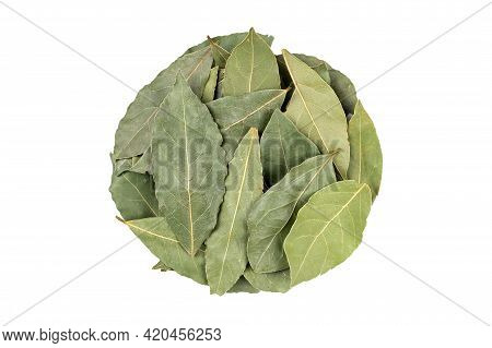 Aromatic Bay Leaves In Round Shape On White Background