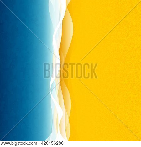 Seaside Vacation, Blue Sea Or Ocean With Waves And Yellow Sand, Top View, Illustration
