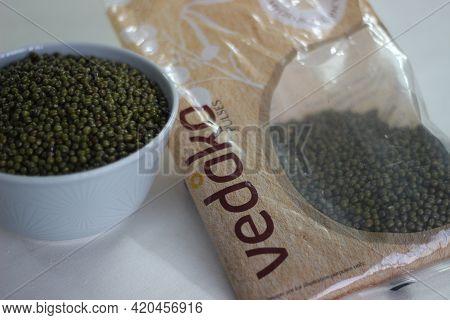 Mumbai, Maharashtra, India, April 24 2021: Transparent Packaging Of Greengram By Vedaka Pulses, A Br