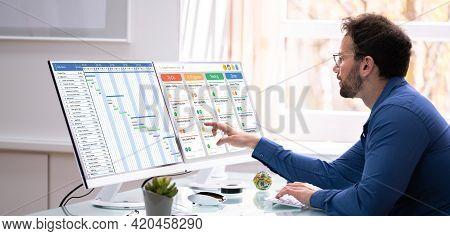 Business Schedule Calendar And Agenda Gantt Report