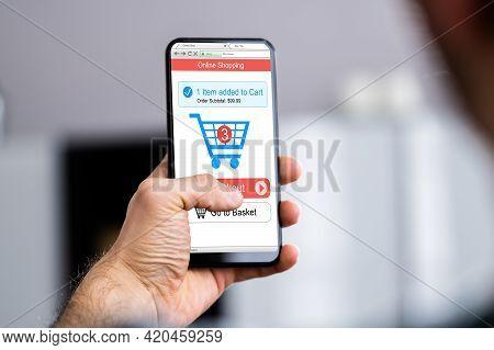 Online Ecommerce Shop Website On Mobile Phone